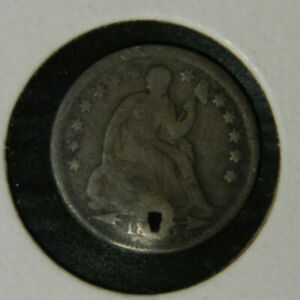 1845 SEATED SILVER HALF DIME G GOOD HOLED 90  SILVER US COIN