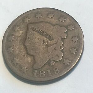 1818 LARGE CENT   FINE NICE ORIGINAL SURFACES    COIN   N/R