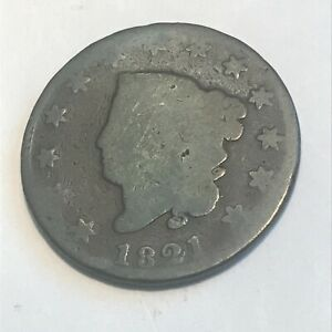 1821 LARGE CENT    NICE ORIGINAL SURFACES   BETTER DATE  COIN   N/R