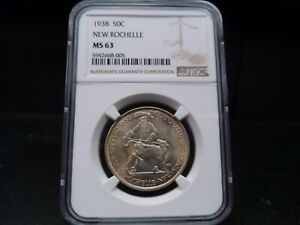 1938 MS63 NEW ROCHELLE SILVER COMMEMORATIVE NGC CERTIFIED   BRIGHT/TONED
