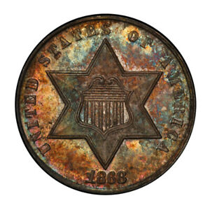 Click now to see the BUY IT NOW Price! 1868 3CS THREE CENT SILVER PCGS MS66   CAC  3114 1 POP 2/1
