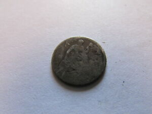 NO DATE SEATED LIBERTY HALF DIME PHILADELPHIA MINT SILVER 5 CENTS ND COIN
