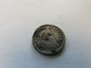 1853 ARROWS SEATED LIBERTY HALF DIME PHILADELPHIA MINT SILVER 5 CENTS COIN
