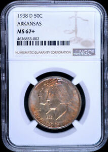 Click now to see the BUY IT NOW Price! 1938 D U.S. 50   ARKANSAS COMMEMORATIVE HALF DOLLAR   NGC MS67   TONING
