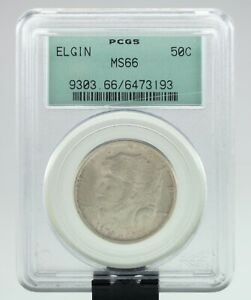 1936 50C ELGIN COMMEMORATIVE HALF DOLLAR GRADED BY PCGS AS MS 66  OLD HOLDER
