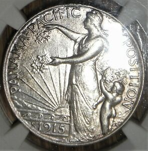 1915 S PANAMA PACIFIC SILVER HALF DOLLAR COMMEMORATIVE NGC AU DETAILS CLEANED