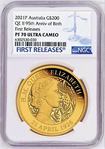 Click now to see the BUY IT NOW Price! 2021 QUEEN ELIZABETH 95TH BIRTHDAY 2OZ .9999 GOLD $200 PROOF COIN NGC PF70 FR