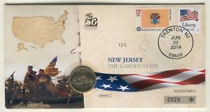 COIN F45 USA COMMEMORATIVE QUARTER 1999 IN COVER NEW JERSEY STATE PEOPLE