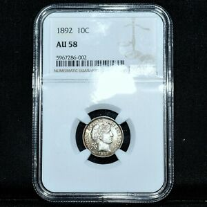 1892 P BARBER DIME  NGC AU 58  10C SILVER ALMOST UNCIRCULATED  TRUSTED