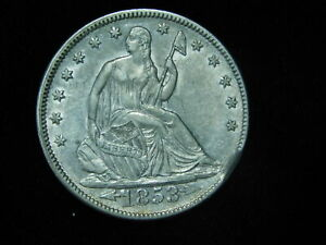1853 SEATED HALF DOLLAR W/ ARROWS & RAYS  AU UNC WITH CLIPPED PLANCHET