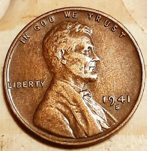1941 S  VG : BRN LINCOLN WHEAT CENT   SMALL 'S' MINT MARK