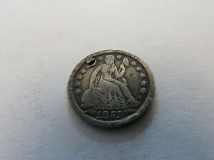 1853 ARROWS SEATED LIBERTY SILVER DIME PHILADELPHIA SILVER 10 CENTS COIN HOLED