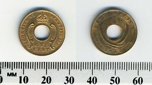 EAST AFRICA 1942   1 CENT BRONZE COIN   TUSKS FLANK CENTER HOLE   GEORGE VI   2