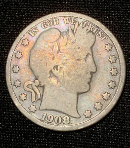 1908 O BARBER HALF DOLLAR IN GOOD CONDITION   NICE SILVER TONED DETAILS