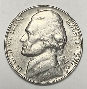1970 S JEFFERSON NICKEL 5 REPUNCHED MINTMARK ERROR CIRCULATED COIN   3533