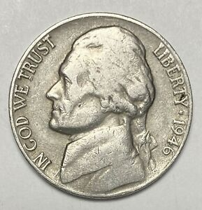 1946 D JEFFERSON NICKEL 5 CENTS REPUNCHED MINTMARK ERROR CIRCULATED COIN  3532