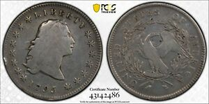 1795  FLOWING HAIR SILVER DOLLAR US $1 PCGS VG DETAILS 3 LEAVES