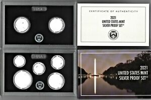 2021 SILVER PROOF SET EMPTY PACKAGE   NO COINS   BOX LENS & CERTIFICATE   NEW
