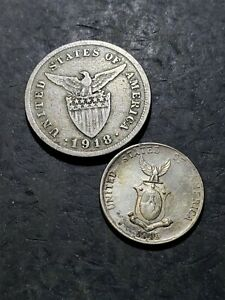 Click now to see the BUY IT NOW Price! 1918 S PHILIPPINES 5 CENTAVOS 1945 D SILVER 10 CENTAVOS COIN  OCT161