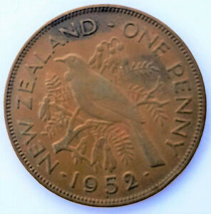 1952 NEW ZEALAND KING GEORGE VI ONE PENNY BRONZE COIN VF USED NZL079
