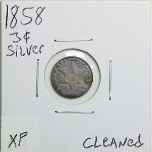 1858 3CS THREE CENT SILVER WITH XF DETAIL CLEANED 06541