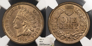 1860 INDIAN HEAD 1 CENT NGC MS 63 US89977