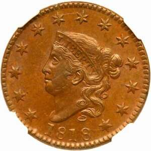 1818 N 7 NGC MS 63 BN MATRON OR CORONET HEAD LARGE CENT COIN 1C