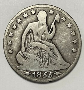1855 O SEATED LIBERTY HALF DOLLAR 50 DOUBLE DIE OBVERSE ERROR COIN  4648