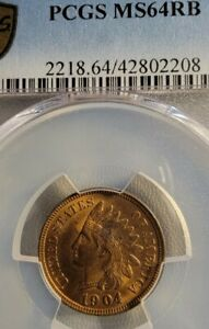 GOLD SHIELD PCGS MS64RB 1904 INDIAN HEAD CENT OLD US COIN