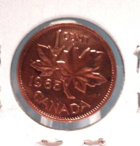 CIRCULATED 1965 1 CENT CANADIAN COIN ..FREE DOMESTIC SHIPPING
