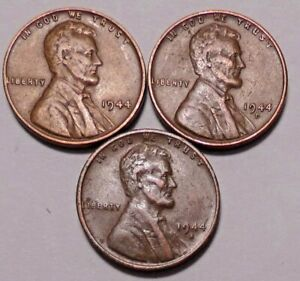 1944 P 1944 D 1944 S LINCOLN WHEAT CENT PENNY   3 BETTER COINS