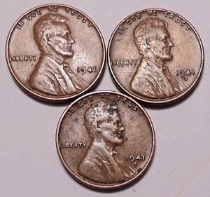 1941 P 1941 D 1941 S LINCOLN WHEAT CENT PENNY   3 COINS