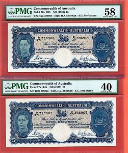 Click now to see the BUY IT NOW Price! 2X 1939 AUSTRALIA KG VI 5 POUNDS NOTE.