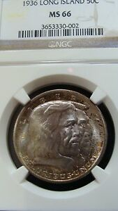 Click now to see the BUY IT NOW Price! US 1936 LONG ISLAND COMMEMORATIVE SILVER HALF DOLLAR NGC MS66 50C  TAB TONING