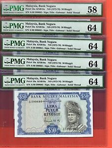 Click now to see the BUY IT NOW Price! 10X 1972 MALAYSIA RM$50 NOTE.PMG 58/64  CONSECUTIVE 2ND SERIES