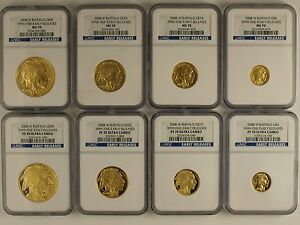 Click now to see the BUY IT NOW Price! 2008 W AMERICAN GOLD BUFFALO 8 PIECE SET MS70 & PF70 NGC EARLY RELEASE
