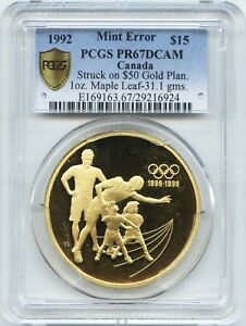 Click now to see the BUY IT NOW Price! PROOF 1992 CANADA $15 ON $50 GOLD 1 OZ MAPLE LEAF 31.1 GRAMS PCGS PF 67 UNIQUE