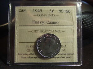 Click now to see the BUY IT NOW Price! CANADA FIVE 5 CENTS 1945 HEAVY CAMEO ICCS MS 66 SUPER ULTRA GEM