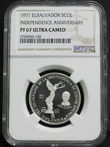 Click now to see the BUY IT NOW Price! EL SALVADOR 1971 INDEPENDENCE 150TH ANNIVERSARY 5 COLOESN SILVER COIN NGC PF6710