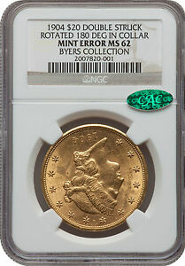 Click now to see the BUY IT NOW Price! UNIQUE 1904 $20 DOUBLE STRUCK ROTATED 180 DEGREES IN COLLAR NGC MS 62 CAC