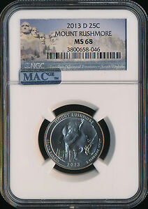 Click now to see the BUY IT NOW Price! 2013 D MOUNT RUSHMORE PARKS QUARTER NGC MAC MS68 FINEST REGISTRY