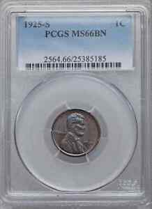 Click now to see the BUY IT NOW Price! 1925 S PCGS MS66BN $75 000 CU IN 66RD. POP 2/0 ALL COLORS LINCOLN WHEAT CENT 1C