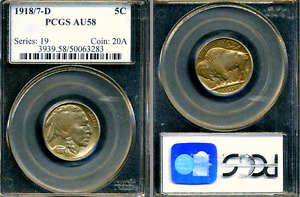 Click now to see the BUY IT NOW Price! 1918/7 D PCGS AU58 BUFFALO NICKEL 5C