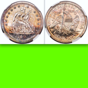 Click now to see the BUY IT NOW Price! 1865 TRANSITIONAL NGC PR65 SEATED QUARTER 25C