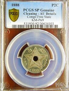 Click now to see the BUY IT NOW Price! CONGO FREE STATE 1888 CUNI PATTERN 2 CENTIMES PCGS AU DETAILS LY