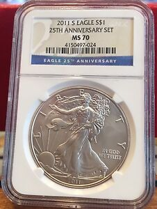 2011 U.S. SILVER EAGLE 25TH ANNIVERSARY 5 COIN SET