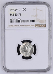 Click now to see the BUY IT NOW Price! 1942/1 NGC MS63 FULL BANDS POP 2/8 BEAUTIFUL    WHITE  SUPERKEY 10C MERCURY DIME