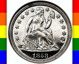 Click now to see the BUY IT NOW Price! 1858 NGC PR66 CAMEO CAC $26 450 APR PR67 100 MINTED  WHITE    PQ SEATED DIME 10C