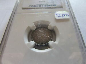 1865 SEATED LIBERTY PROOF DIME NGC PF65 COLOR PR 65 TONED 10 CENT SILVER COIN