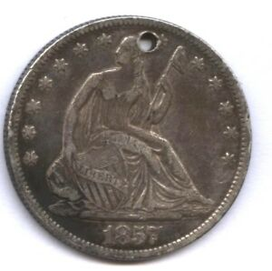 1857 O SEATED HALF   XF DETAIL   NEAT LOOK   OLD TOP HOLE   FROM NEW ORLEANS